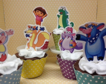 Dora Party Cupcake Topper Decorations - Set of 10