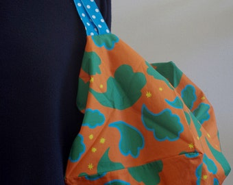 SALE !! Square bag, orange, green, blue