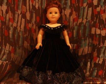 """Black Velvet 18"""" Doll Ballgown Dress"""