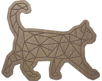 Cat - ORIGAMI - laser cut wood - brooch
