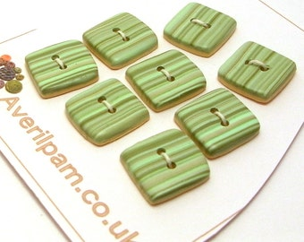 Handmade Square  Buttons Green Stripes 15mm