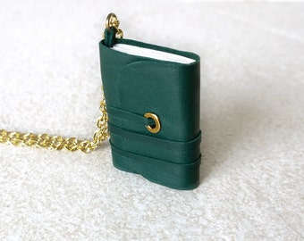 Holiday Gift,  Book necklace, mini book jewelry, mini journal, tiny book, literature necklace