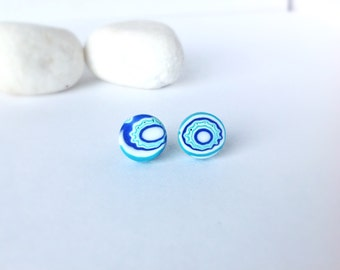 Polymer clay earrings , Stud earrings, Round earrings  , Turquoise earrings , Modern earrings, Small earrings, Contemporary jewelry
