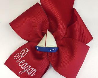 Red Hair Bow, Any Name Monogram, Sailboat Nautical, Blue Beach, Cruise Boutique, Custom Gift, Summer Boat, Hairbows, Girls Kids, Preppy Clip