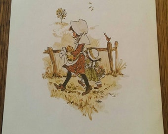 Vintage 1971 Lithograph in Holly Hobbie Style Morris Manufacturing Bonnets & Pilgrim Shoes