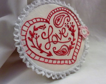 Embroidery Hoop Art, Love,  Embroidery Heart, Hoop Art, Embroidery Wall Art, Red Work Embroidery, Red Heart
