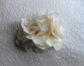 Hydrangea Hair Clip White Ivory Large Statement Hydrangea Cluster Bridal Hair Accessory Rehearsal Dinner After Ceremony Made by handcraftUSA