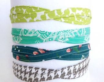 Turquoise and Green headbands, adjustable headband, headband for women, gift for her, gift under 10, fabric thin headbands, tween headband
