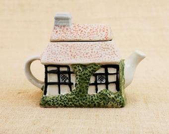 Tea Pot, Ceramic Ornamental, Ceramic Tile Boxes, Teapot House, Bird lover's gift, Quirky Teapot, China House Box, Fairy Home Teapot