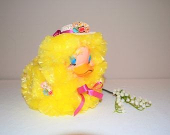 Vintage Kitschy Duck with Bonnet