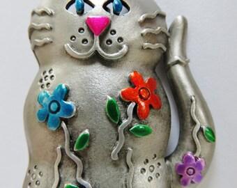 JJ Jonette Silver Pewter Bright Floral Smiling Cat Brooch
