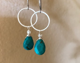 Small sterling hoops with turquoise