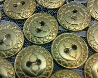 SET of 4 VINTAGE 23 mm METAL gold buttons