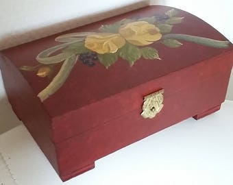 Mother's Day Gift - Wooden Box Hand Painted - Jewerly Box - Alsace - Farmhouse Rustic Chic Art