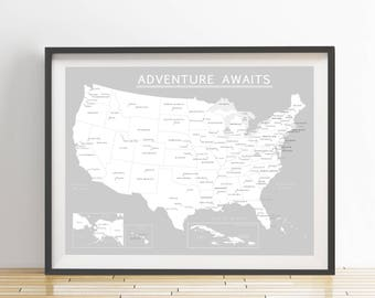 USA Push Pin Map (Print Only), Caribbean Map, Travel Map, Travel Board, Map Poster, Wedding - Anniversary Gift  #USA-009