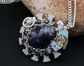 On Sale! Amethyst Steampunk Necklace