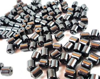 30 pearls hématite grey anthracite / black 4X5mm (pg3)