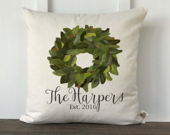 Farmhouse Pillow, Personalized Pillow, Decorative Couch Pillow, Wedding gift, Anniversary Gift, Magnolia Wreath Pillow Cover