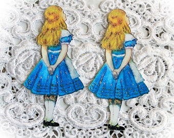 Reneabouquets Alice In Wonderland~ Vintage Alice Looking UP Die Cut Set  Choose Your Size Scrapbook Embellishment