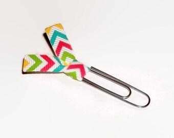 Multi Color Chevron Ribbon Paper Clips - Chevron Desk Accessories - Planner Clips - Office Accessories - Paperclip Bookmark - PC039