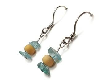 Blue apatite earrings, bohemian jewelry, blue apatite jewelry, natural stone earrings, bohemian earrings, holistic jewelry yoga earring awin
