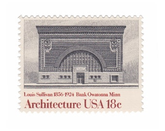 10 Unused Vintage Postage Stamps - 1981 18c National Farmers Bank by Louis Sullivan - Architecture Series - Item No. 1931