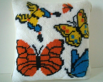 Vintage Butterfly Needlepoint Pillow