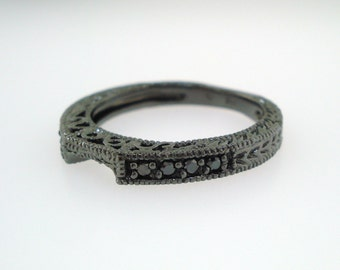 Vintage Style 14K Black Gold Wedding & Anniversary Black Diamond Curve Band 0.12 Carat handmade