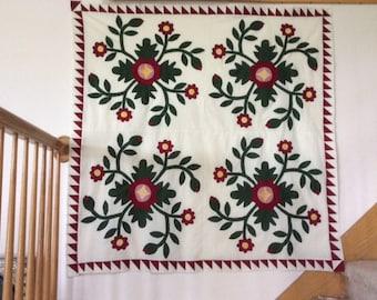 Antique Whig Rose Applique' Reproduction Quilt Pattern