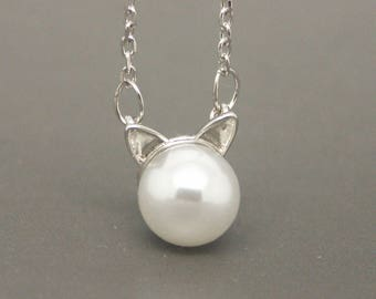 Silver Cat Necklace, Pearl Cat Necklace, Kitten Necklace, Kitty Necklace, Animal Necklace, Cat Jewelry,Minimalist Necklace,Pure Silver NA516