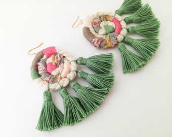 Statement Multicolored Tassel Earrings - Asymmetrical - Large Handmade Wrapped Fringe - Pink, Sage Green - Cotton/Rope/Fabric - Gold Filled