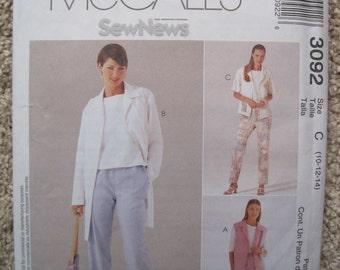 UNCUT Misses Jacket, Duster Vest, Pull-On Pants - McCalls Pattern 3092