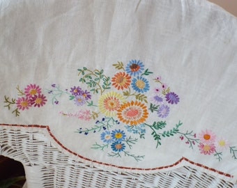 Very Pretty Cotton/Linen Hand Embroidered Vintage Chair Back