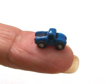 Shiny Blue Ford Truck, Artisan Dollhouse Miniature, Unique, Boy Toy Truck, 1:12 Scale, Mini Sculpture