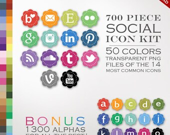HUGE 700 Social Media Icon Package - Stitched Blog Button Icons - Transparent Flower Network Buttons Including Instagram Icon, Twitter Icon