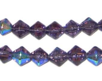 8mm Purple Bi-cone AB Finish Fire Polish Glass Bead