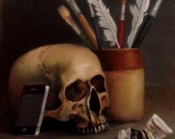 Original Daily Painting by CES - Halloween Vanitas iphone Realistic Skull Dark Arts Realism Fine ART Paintbrushes Portrait Selfie 10 x12