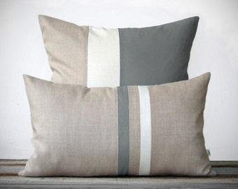 Gray Decorative Pillow Cover Set - (12x20) Stripe and (20x20) Color Block  by JillianReneDecor - Modern Home Decor - Minimal