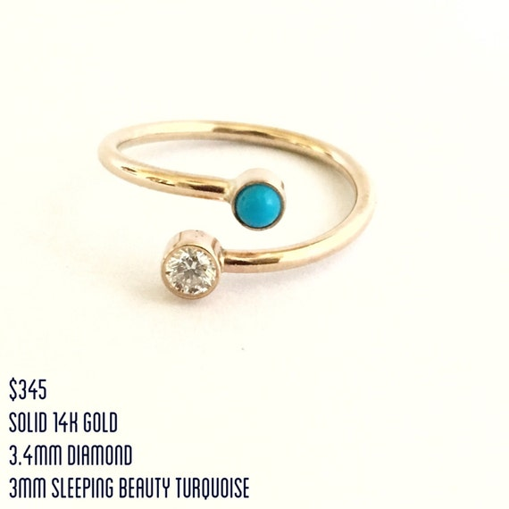 Dual Birthstone Ring 14k Gold Personalized Jewelry for her