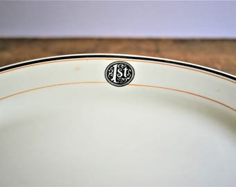 Vinage 1st Chicago Bank Restaurant Ware Platter, First National, Buffalo China 1926 White, Black Orange Stripes, Albert Pick Distributor