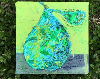 Blue Pear 4x4 Small Painting on Canvas