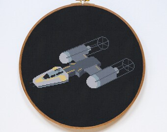 Y-Wing Cross Stitch Pattern, Modern Star Wars Pattern, StarWars Cross Stitch Easy Chart, Republic Starfighter, PDF Format, Instant Download