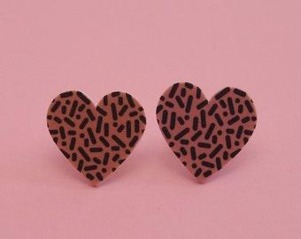 Heart Earrings // Confetti Print Earrings // Memphis Modern Earrings // Graphic Earrings // Geometric Earrings