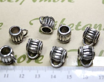 10 pcs per pack 8mm with 6mm Diameter Solid Bail Pewter Antique Silver