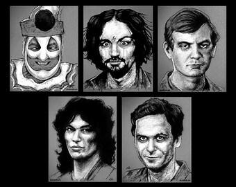 "Prints 8x10"" - The Black and White Serial Killer Series - John Wayne Gacy Charles Manson Jeffrey Dahmer Richard Ramirez Ted Bundy Dark Art"
