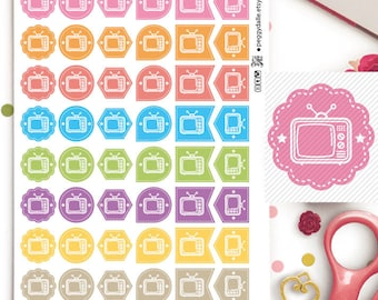 TV Assorted Shapes Reminder Planner Stickers | Watch | Movies | Reminders | Circles | Flags | Hexagons