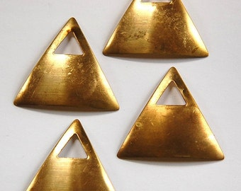 Raw Brass Dapped Triangle Pendant with Triangle Opening (4) mtl319A