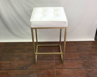 "24"" to 26"" Brushed gold stools with upholstered seat FREE SHIPPING!"
