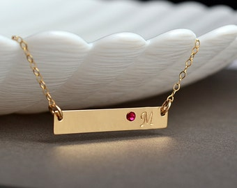 Personalized Bridesmaid Necklace Set, Gold Bar Necklace, Initial Bar, Custom,Bridal Necklace Set, Monogram Bar Necklace