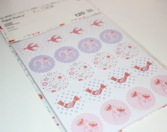 sticker paper poetry flowers birds and hearts